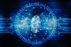Concept de sécurité de Cyber, concept de la sécurité d'Internet, empreinte digitale sur le fond numérique Photos libres de droits