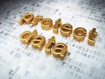Concept de sécurité : d'or protégez les données sur numérique Photos stock