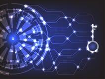 Concept de sécurité de Cyber : Keyhold avec la clé de sécurité Images stock