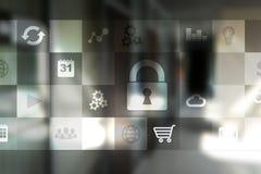 Concept de sécurité de protection des données et de cyber sur l'écran virtuel images stock