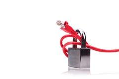 Concept de sécurité de réseau informatique avec le cadenas au-dessus du réseau c Photographie stock libre de droits