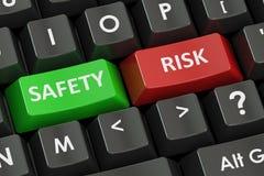 Concept de sécurité et de risque sur le clavier noir, rendu 3D Photographie stock