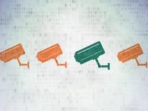Concept de sécurité : icône d'appareil-photo de télévision en circuit fermé sur Digital Photo libre de droits