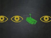 Concept de sécurité : icône d'appareil-photo de télévision en circuit fermé sur le conseil pédagogique Image libre de droits