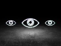 Concept de sécurité : icône d'oeil dans la chambre noire grunge Photographie stock