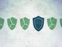 Concept de sécurité : icône de bouclier sur le papier de Digital Image libre de droits