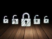 Concept de sécurité : icône fermée de cadenas dans l'obscurité grunge Photographie stock libre de droits