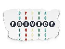 Concept de sécurité : intimité de mot dans la solution Image stock