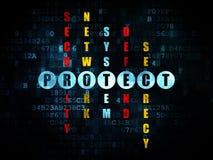 Concept de sécurité : le mot se protègent dans la solution Images libres de droits