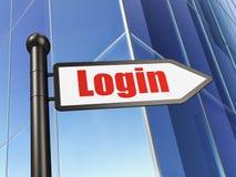 Concept de sécurité : login de signe sur le fond de bâtiment Image stock