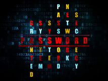Concept de sécurité : mot de passe de mot en résolvant des mots croisé Images stock