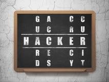 Concept de sécurité : pirate informatique de mot en résolvant des mots croisé Photographie stock