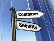 Concept de sécurité : Protection de l'ordinateur sur le fond de bâtiment Images libres de droits