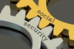 Concept de sécurité sociale sur les roues dentées, rendu 3D illustration stock