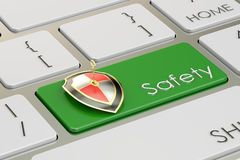 Concept de sécurité sur le bouton vert de clavier, rendu 3D Photographie stock libre de droits