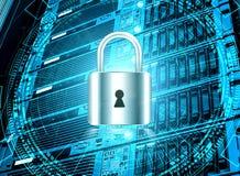 Concept de sécurité de technologie Fond numérique de Web moderne de sécurité Système de protection rangée de lame d'unité central illustration stock