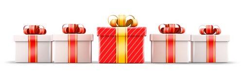 Concept de sélection de cinq cadeaux Photo stock