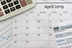 Concept de saison d'impôts des 2019 Etats-Unis images stock