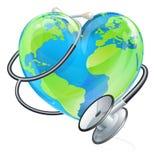 Concept de santé de stéthoscope de globe du monde de la terre de coeur illustration de vecteur