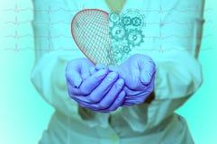Concept de santé et de médecine - le docteur féminin tenant un coeur rouge avec des vitesses avec l'ecg raye Images libres de droits
