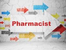 Concept de santé : flèche avec le pharmacien sur le fond grunge de mur Image libre de droits