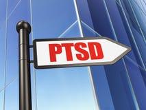 Concept de santé : signe PTSD sur le fond de bâtiment Image libre de droits