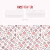 Concept de sapeur-pompier avec la ligne mince icônes illustration de vecteur
