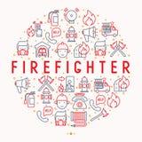 Concept de sapeur-pompier en cercle avec la ligne mince icônes illustration libre de droits