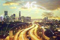 Concept de scape et de connexion de ville et police de 4g LTE Images stock