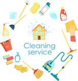Concept de schoonmakende dienst Vlakke vectorreeks van het schoonmaken van hulpmiddelen en huishoudenlevering Minimale vectorgraf Stock Foto