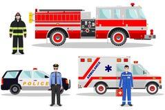 concept de secours Illustration détaillée de sapeur-pompier, de médecin, de policier avec le camion de pompiers, d'ambulance et d Image stock