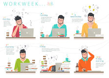 Concept de semaine de travail d'employé de bureau Image libre de droits