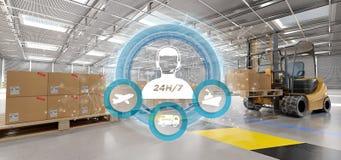 Concept de service client sur un rendu du fond 3d d'entrepôt Images stock