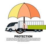 Concept de service d'assurance de protection de camion avec Lorry Under Umbrella Icon Photographie stock libre de droits