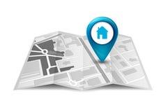 Concept de service de GPS de carte de ville de perspective direction de rue de conception de carte de la ville 3d avec le marqueu Photo stock