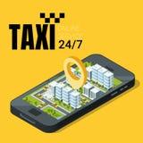 Concept de service de taxi Smartphone avec le paysage isométrique de ville Illustration de vecteur Photo stock