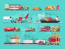 Concept de service de distribution Chargement de cargo de récipient, chargeur de camion, entrepôt, avion, train Illustration plat illustration stock