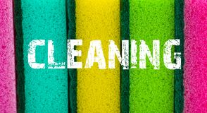 Concept de service de nettoyage Fond de texture d'éponge avec l'inscript Images libres de droits