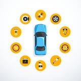 Concept de service de voiture Ensemble de graphismes de service de véhicule Illustration de vecteur illustration de vecteur
