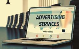 Concept de services de la publicité sur l'écran d'ordinateur portable 3d Image stock