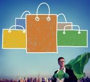 Concept de Shopaholic de capitalisme de vente de panier photo libre de droits