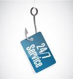 24-7 concept de signe d'hameçon de service Photos libres de droits