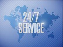 24-7 concept de signe de carte du monde de service illustration libre de droits