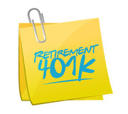 concept de signe de courrier de note de la retraite 401k illustration stock