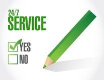 24-7 concept de signe de liste de contrôle de service Images stock