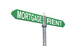 Concept de signe de loyer d'hypothèque Photographie stock
