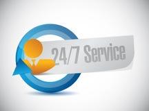 24-7 concept de signe de personnes de service Photographie stock libre de droits