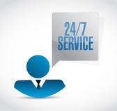 24-7 concept de signe de personnes de service Images libres de droits