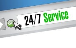 24-7 concept de signe de site Web de service Photos libres de droits