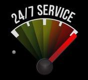 24-7 concept de signe de tachymètre de service Photos stock